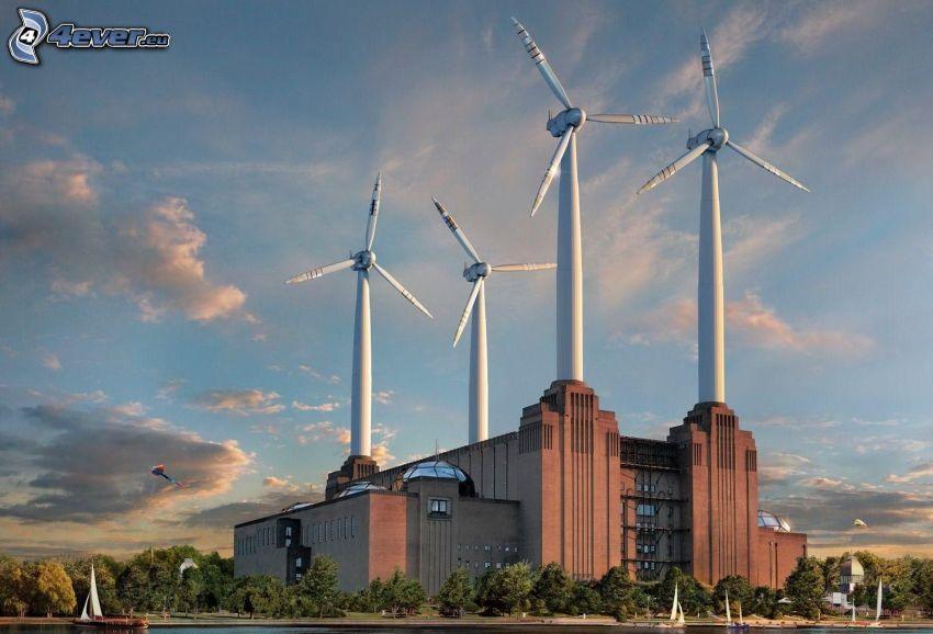 energía eólica, río