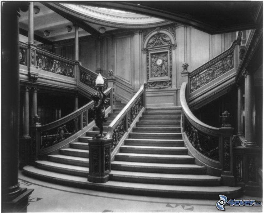escalera, Titanic, blanco y negro