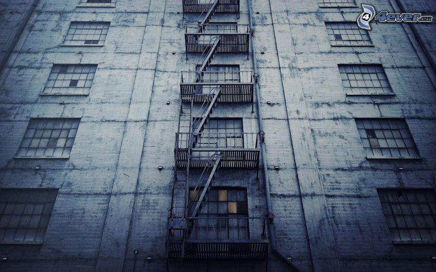 escalera de incendios, edificio, ventanas