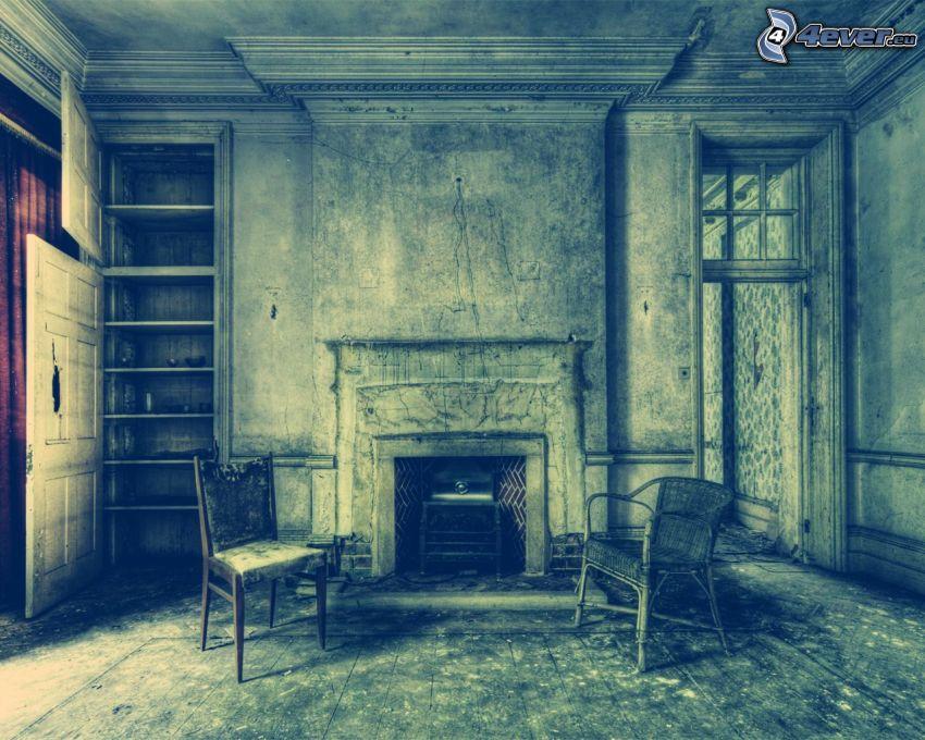 habitación, chimenea, sillas