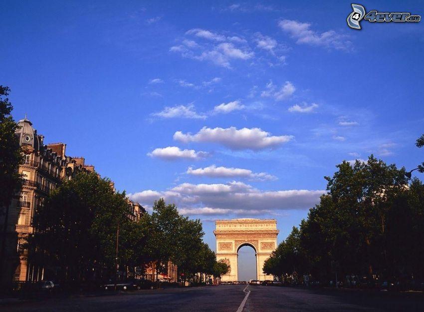 Arco de Triunfo, París, camino, árboles