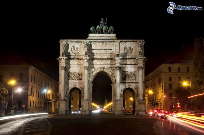 Arco de Triunfo, París, ciudad de noche