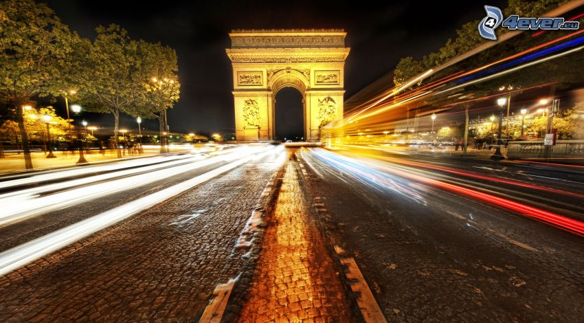 Arco de Triunfo, París, Francia, noche, camino, luces