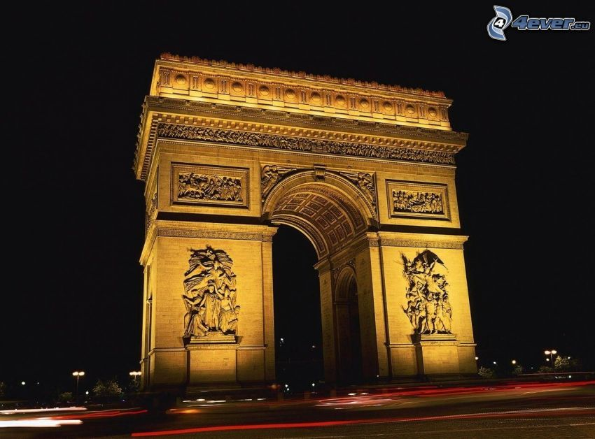 Arco de Triunfo, París, noche, iluminación