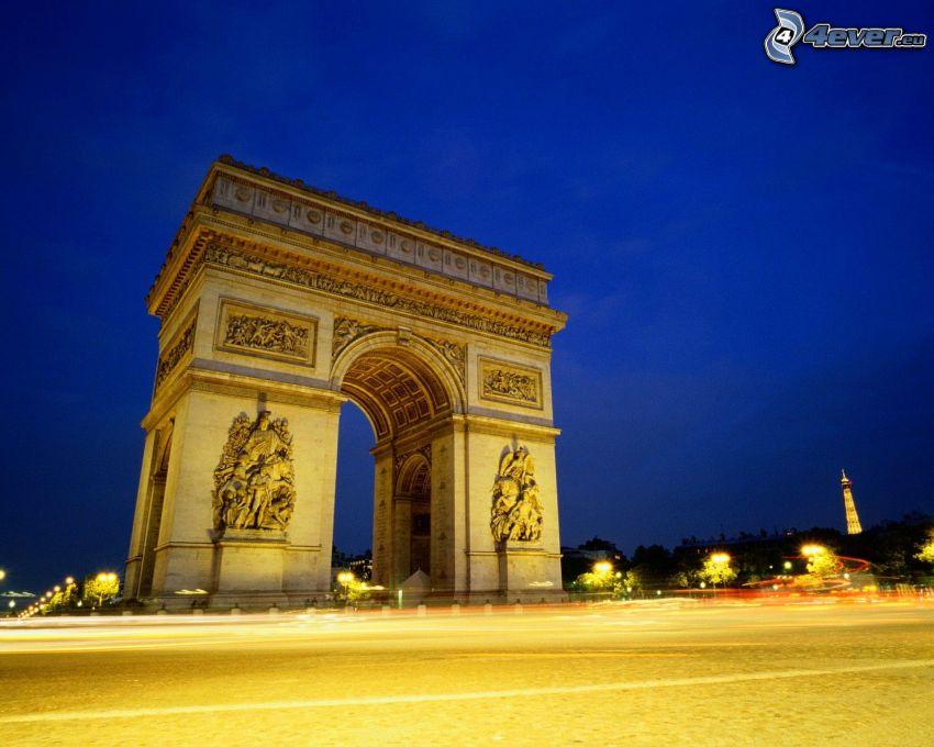 Arco de Triunfo, París, noche