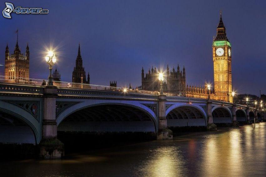 Big Ben, Londres, puente, noche, alumbrado público