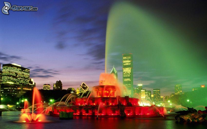 Buckingham Fountain, Chicago, efectos de iluminación