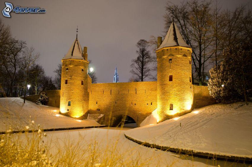castillo, atardecer, iluminación, nieve