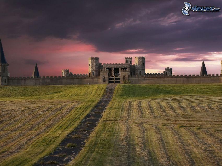 castillo, después de la puesta del sol, nubes