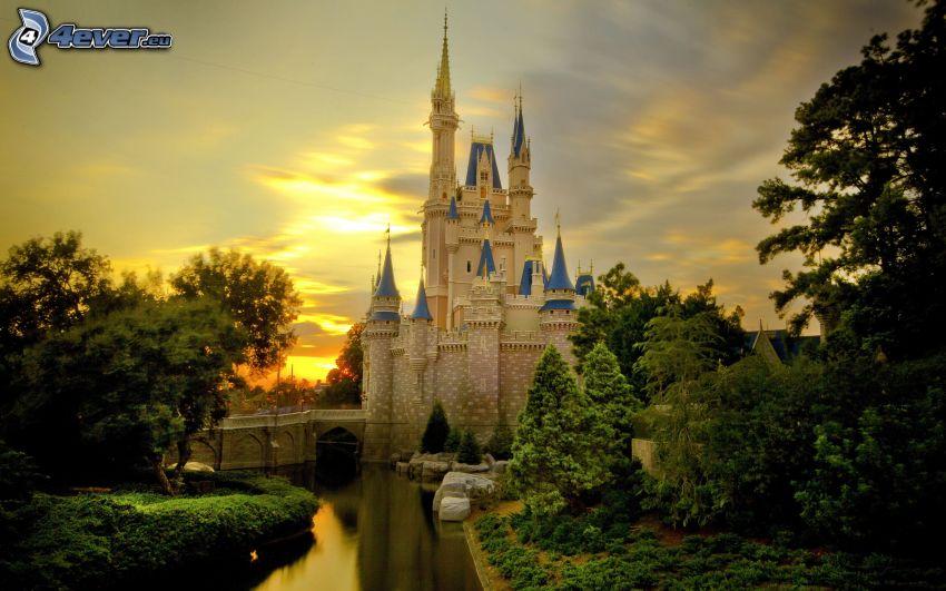 castillo, Disney, puesta del sol, árboles