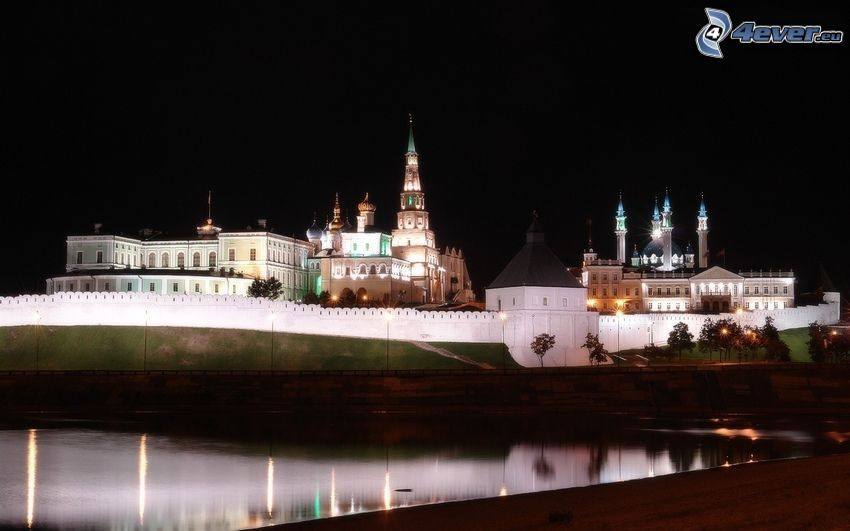 castillo, iluminación, lago