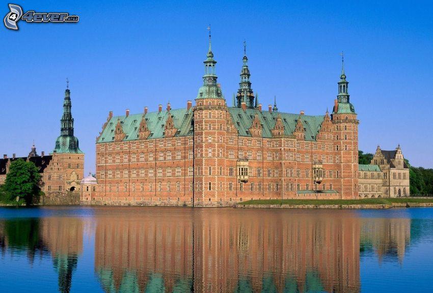 castillo, lago, reflejo