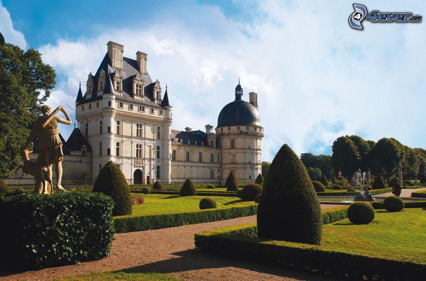 castillo de Valençay, jardín, acera