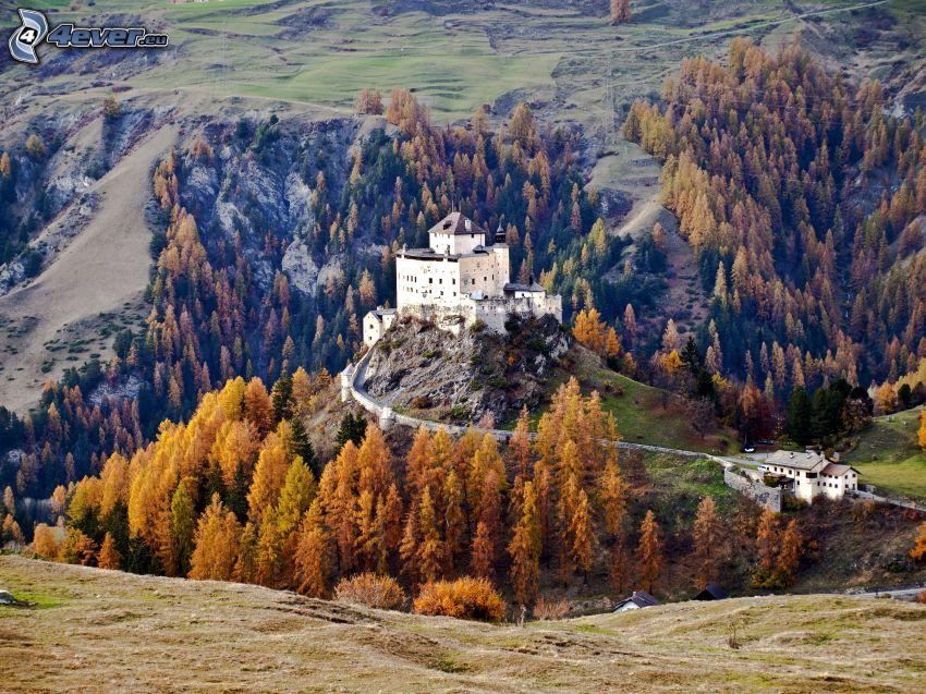 Castillo Tarasp, bosque de otoño, prado