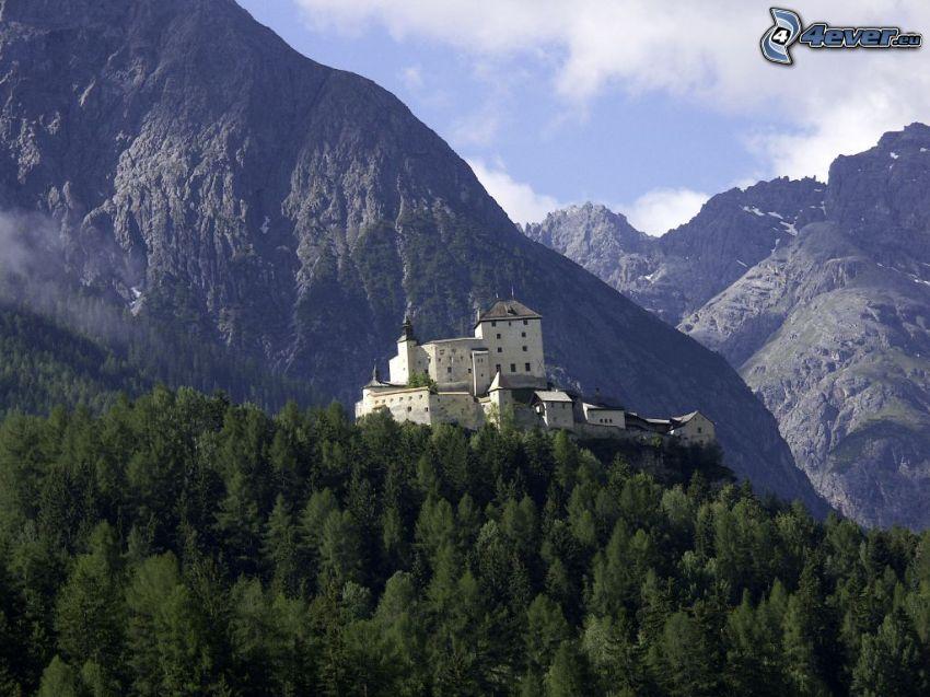 Castillo Tarasp, montaña rocosa, bosques de coníferas