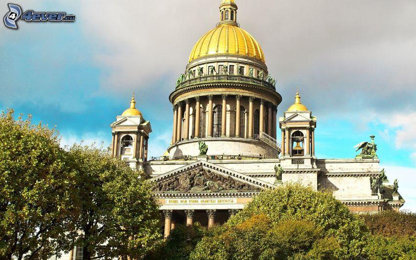 catedral, Petersburgo, Rusia, árboles