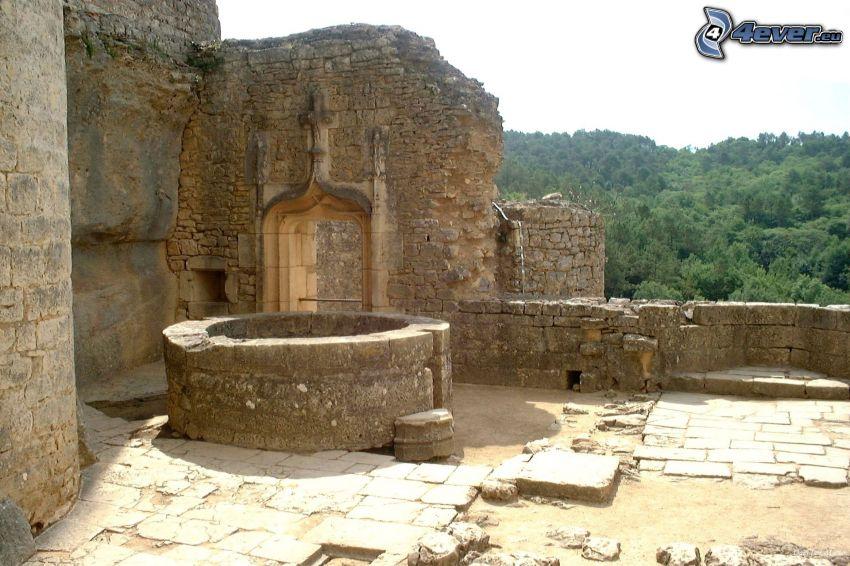 château de Bonaguil, pozo