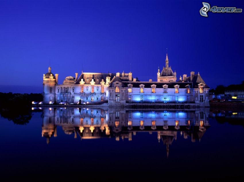 Château de Chantilly, castillo, reflejo