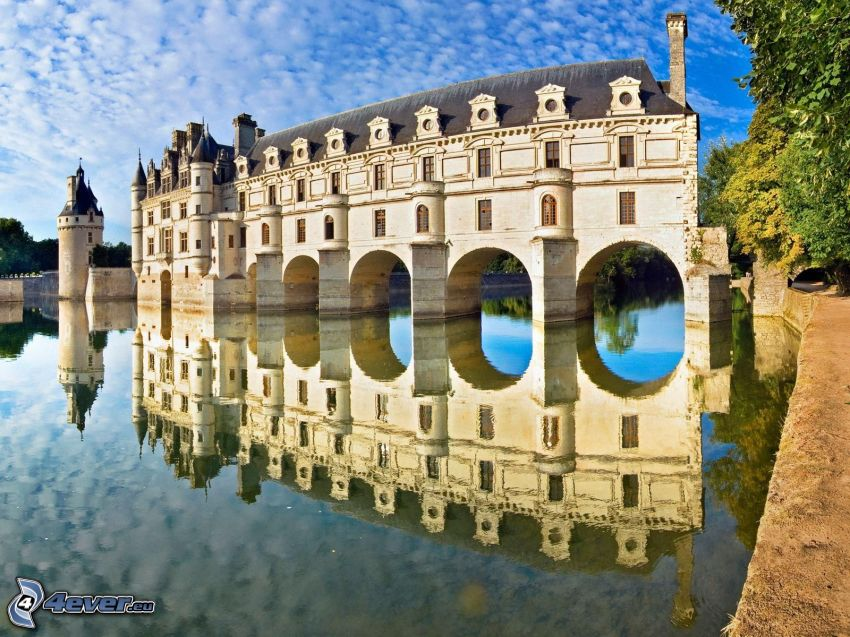 Château de Chenonceau, castillo, Francia, reflejo