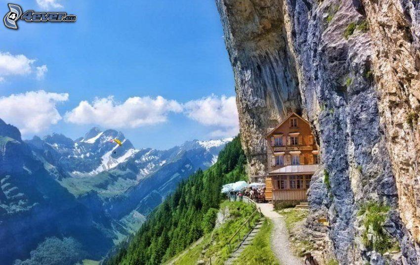 choza, Suiza, arrecife, montañas
