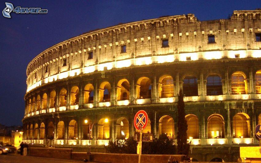 Coliseo, noche, señal de tráfico