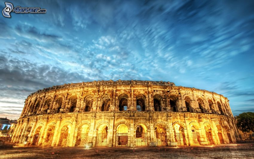 Coliseo, nubes, cielo, HDR