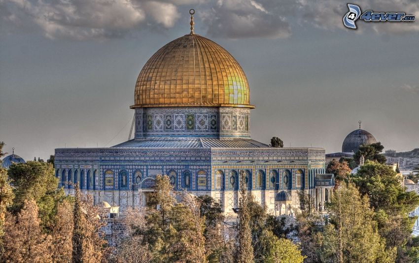 Dome of the Rock, árboles, Jerusalén