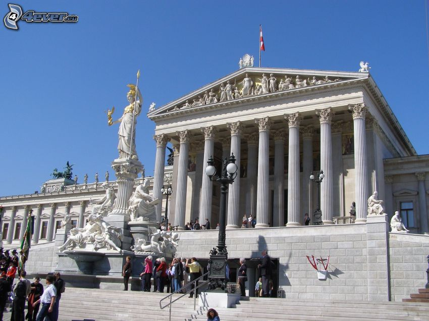 edificio, Viena, personas, columnas, estatua
