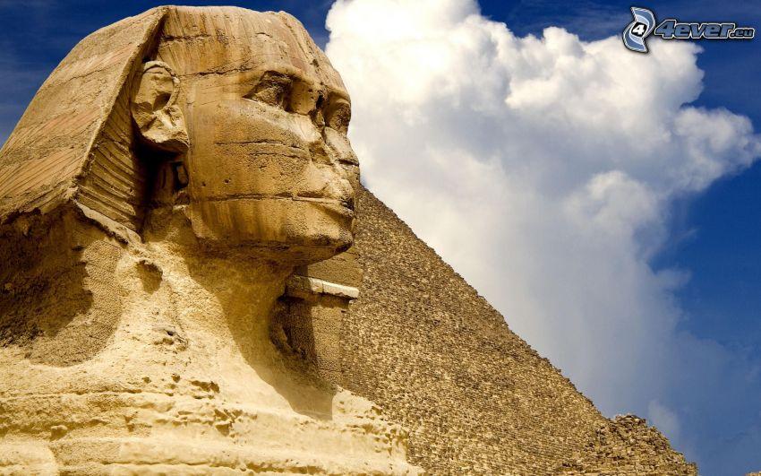 esfinge, pirámide, Egipto, nube