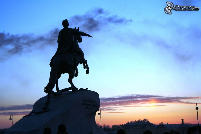 estatua, puesta del sol, Petersburgo
