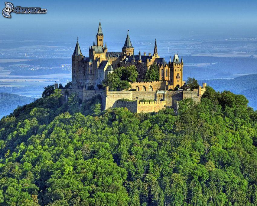Hohenzollern, castillo, Alemania, colina, árboles, vista del paisaje
