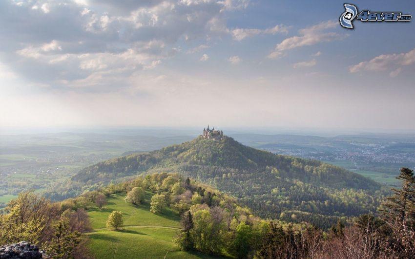 Hohenzollern, colina, castillo, Alemania, rayos de sol, vista del paisaje