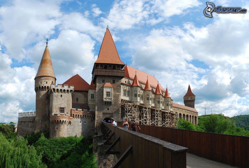 Hunyad, castillo, puente, nubes