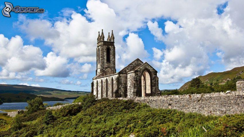 iglesia, Irlanda, nubes, ruinas