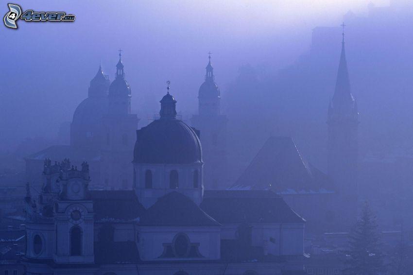 iglesia, niebla