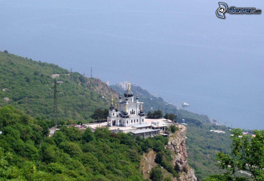iglesia, roca, vista al mar