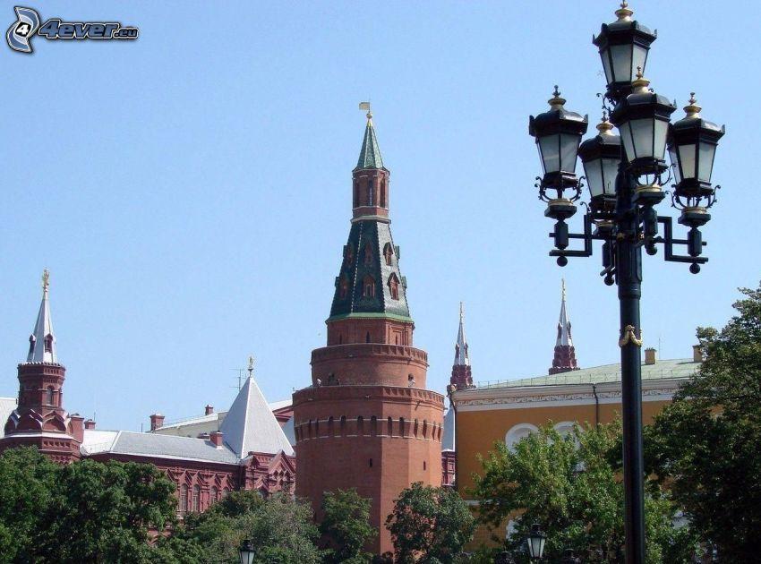 Kremlin, Moscú, lámpara de calle, árboles