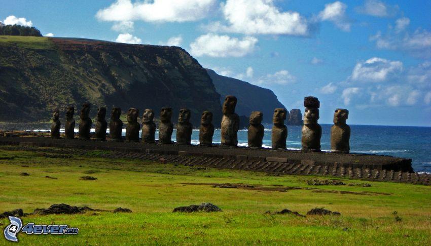 la escultura de Moai, islas de pascua, mar, acantilados costeros