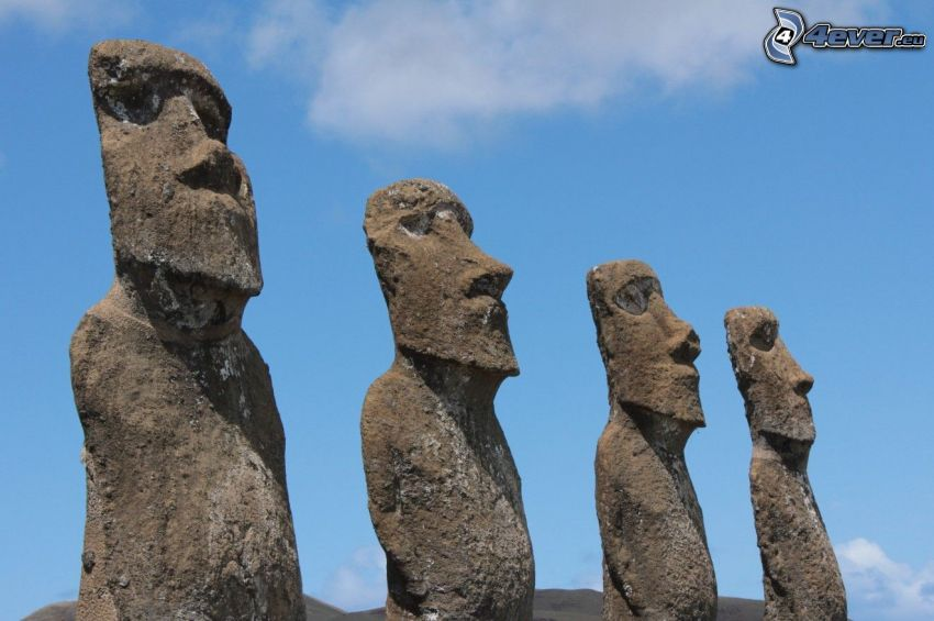 la escultura de Moai, islas de pascua