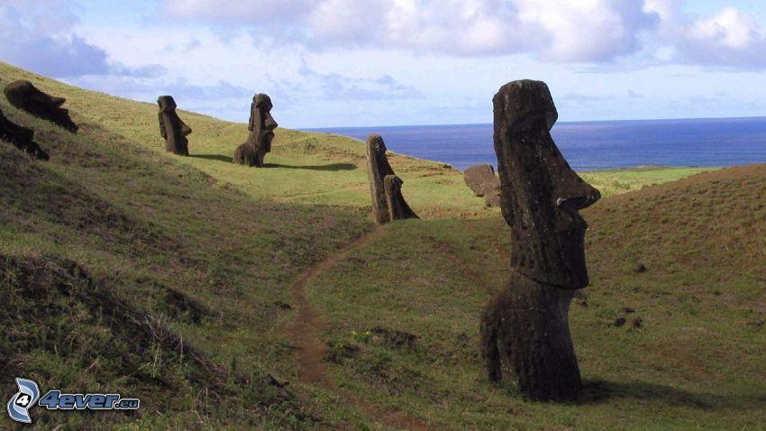 la escultura de Moai, mar, islas de pascua
