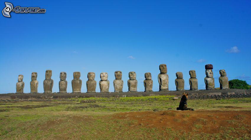 la escultura de Moai, pastor alemán, islas de pascua
