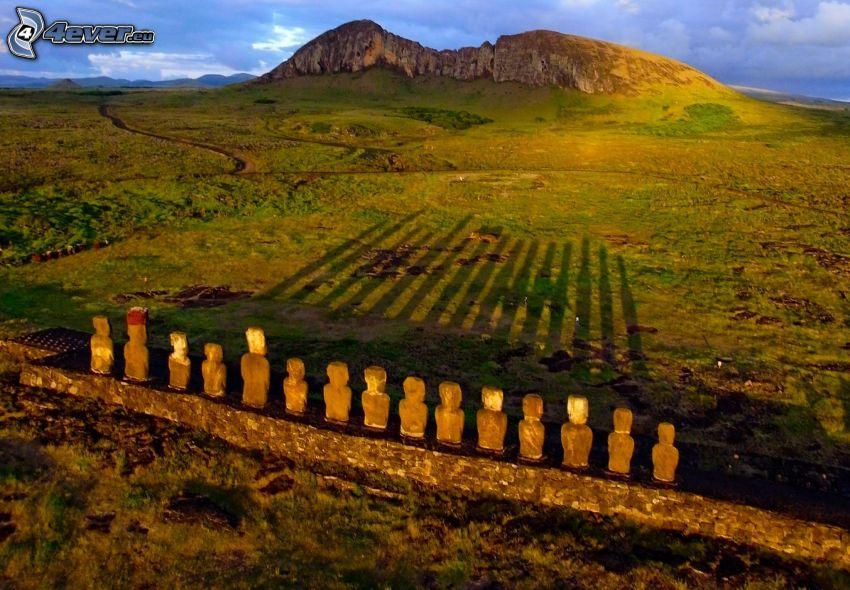 la escultura de Moai, sombra, prado, islas de pascua
