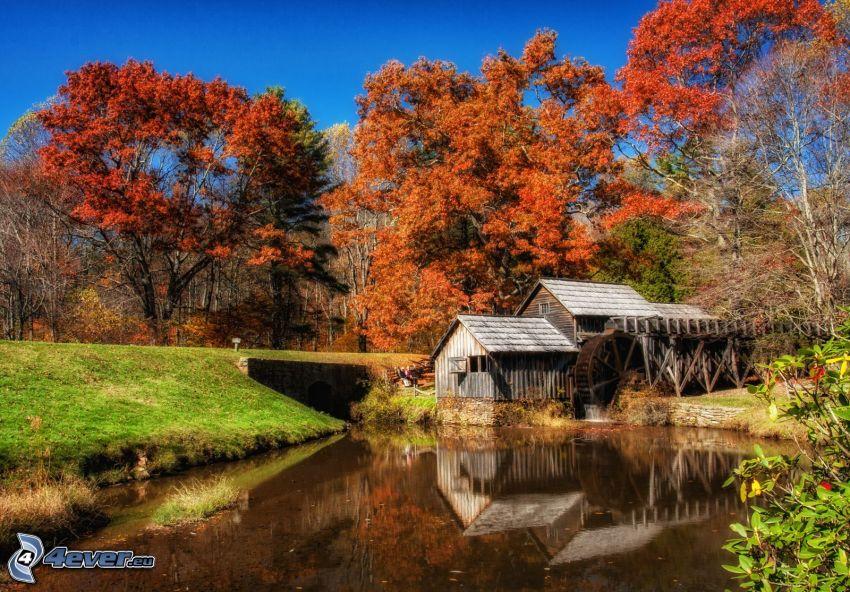 Mabry Mill, árboles otoñales, río, reflejo