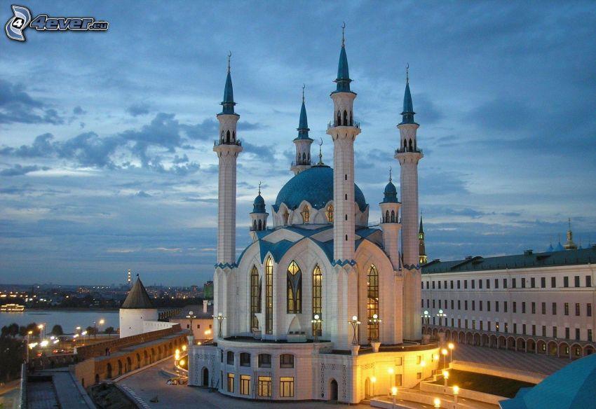 mezquita, atardecer