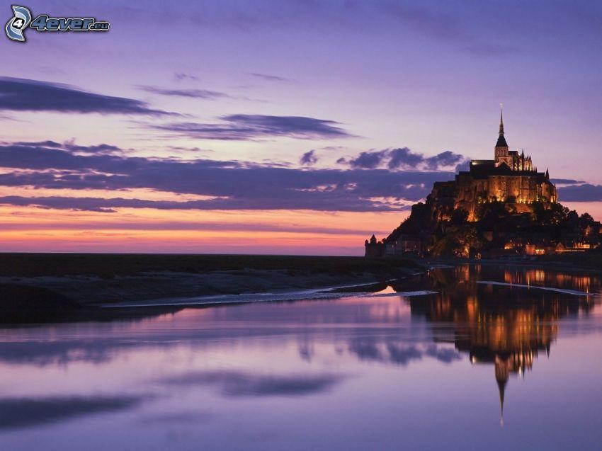Mont Saint-Michel, castillo, lago, atardecer