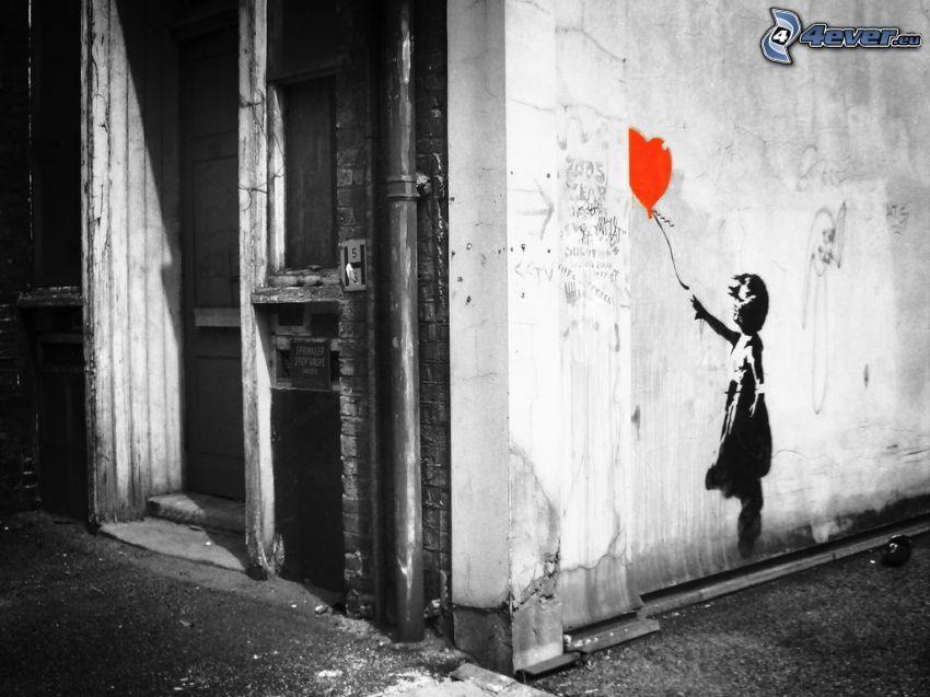 niña con globos, muro, puerta