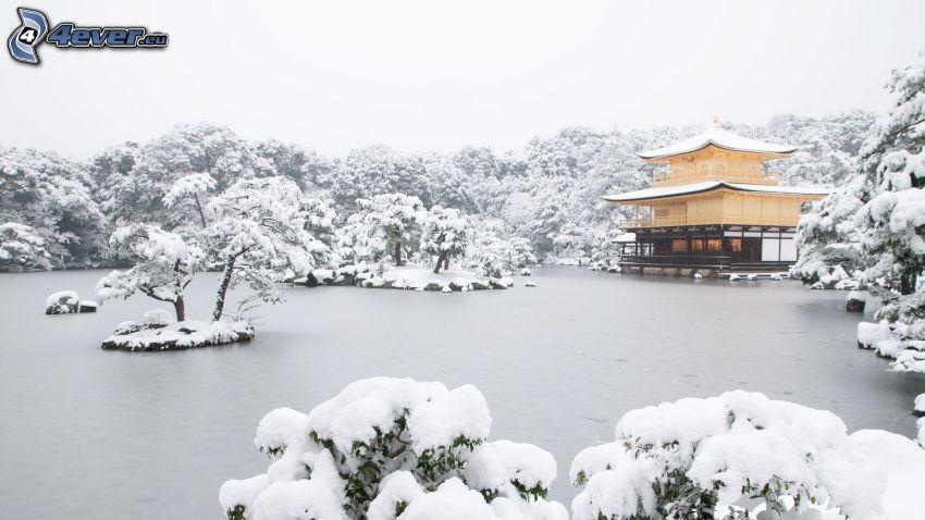 pagoda china, invierno, lago congelado