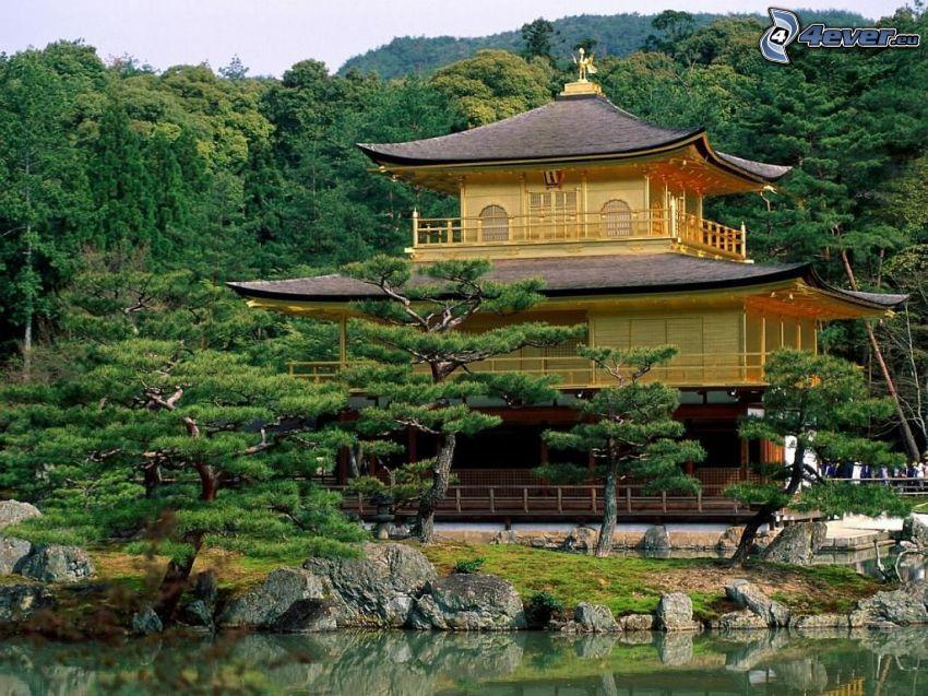 pagoda china, lago, bosque