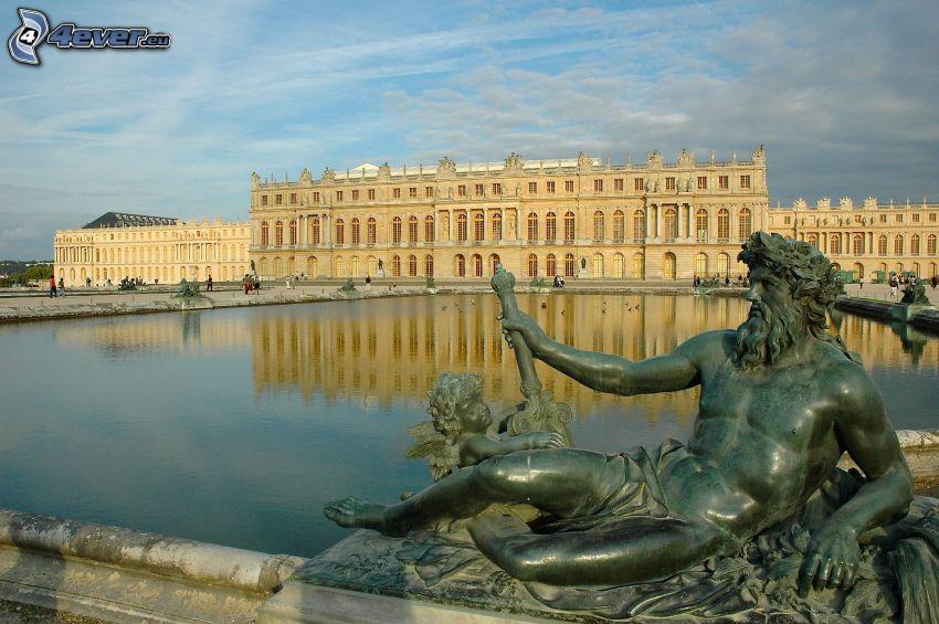 Palacio de Versailles, estatua, lago