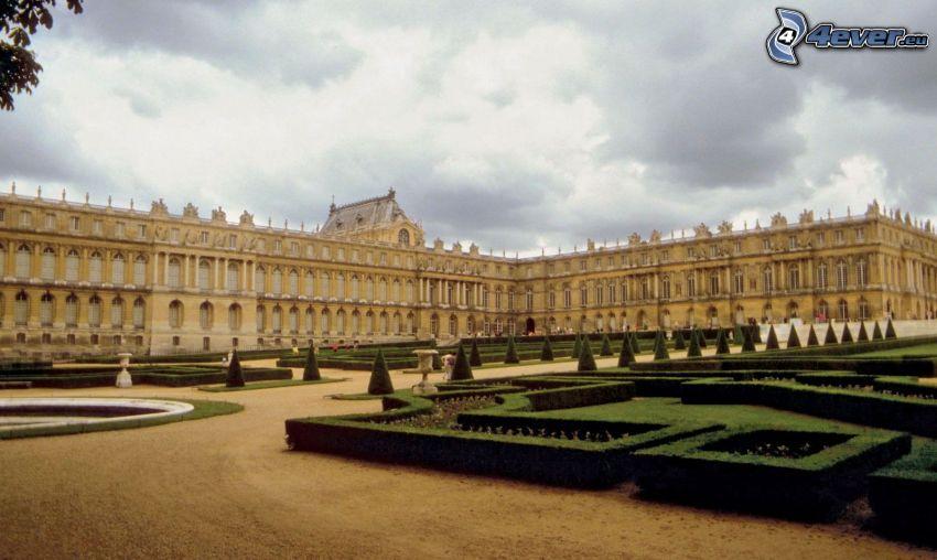Palacio de Versailles, jardín, Arbustos, nubes
